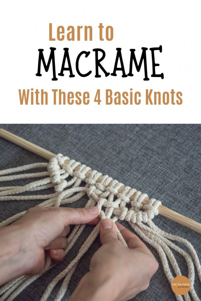 Pinterest pin with picture of hands creating macrame art