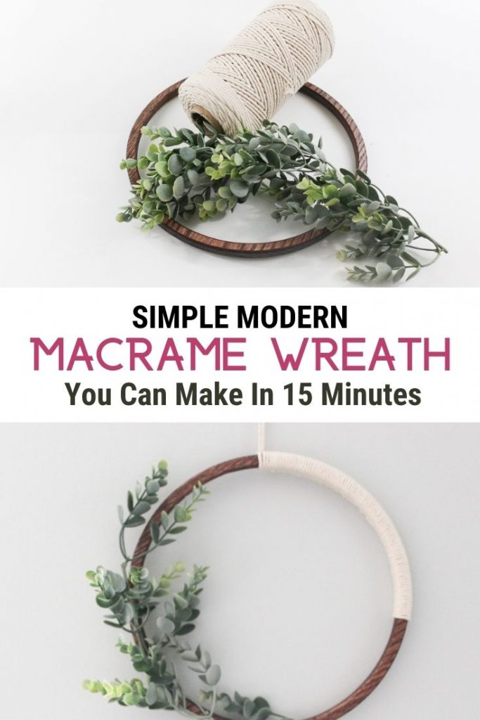 2 images of modern macrame wreath with text Simple Modern Macrame Wreath You cam Make in 15 Minutes
