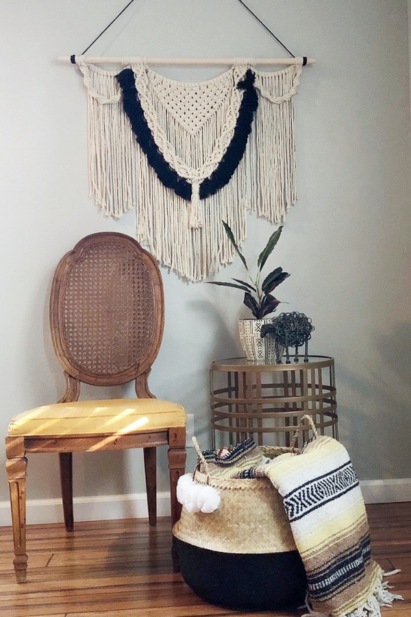 Wall hanging made with 4 basic macrame knots.
