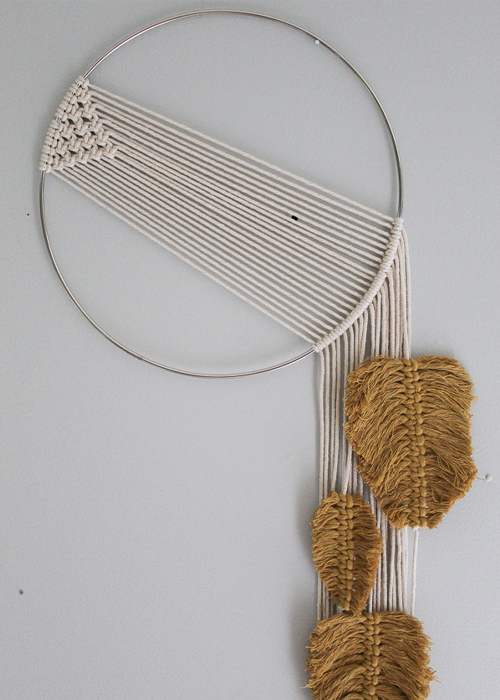 Simple Macrame Wall Hanging with Feathers
