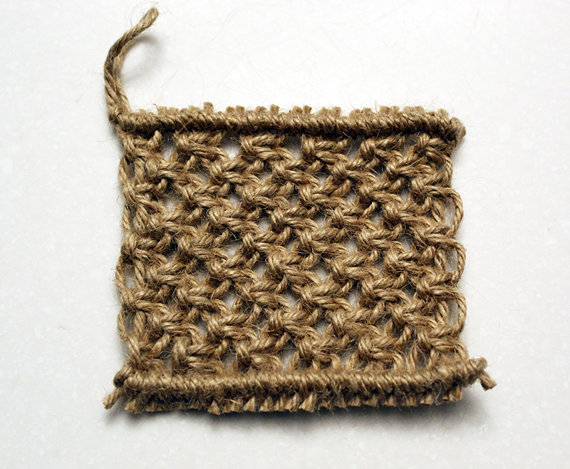 finished macrame pot scrubby made with jute string