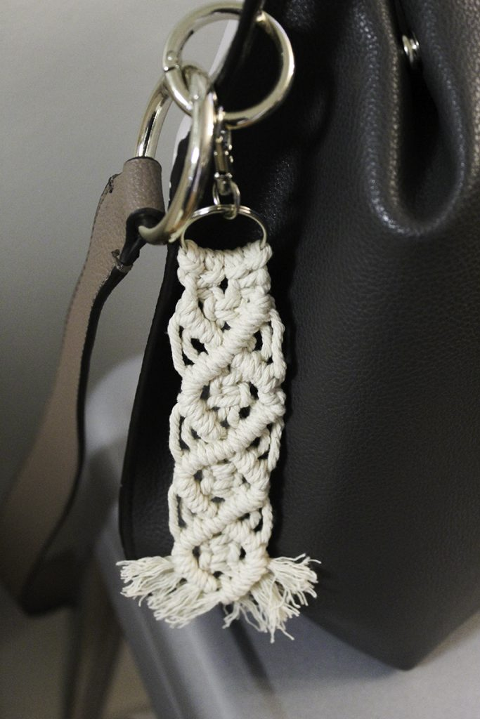 macrame keychain used as a purse fob