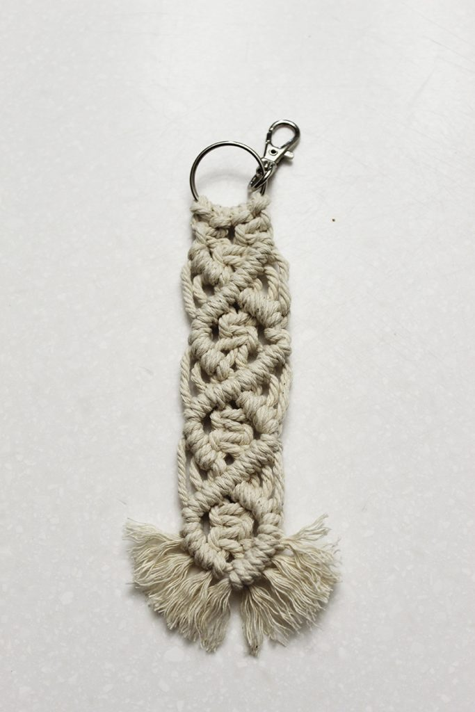 fringe cut and combed out on the bottom of the keychain