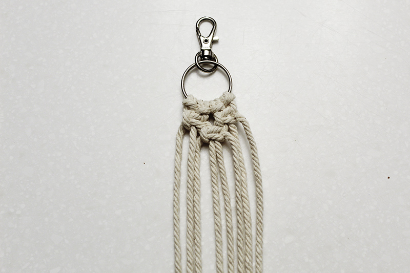 square knots tied on the macrame keychain