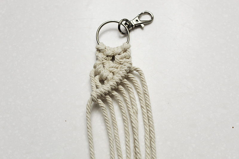 macrame keychain in progress