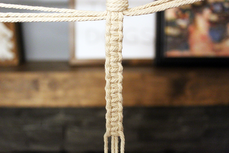 square knots one arm of the simple macrame plant hanger