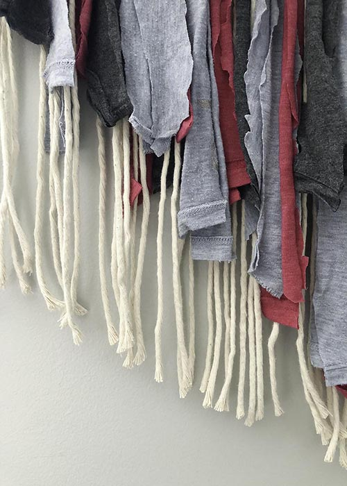Macrame Wall Hanging with T-shirt Fringe