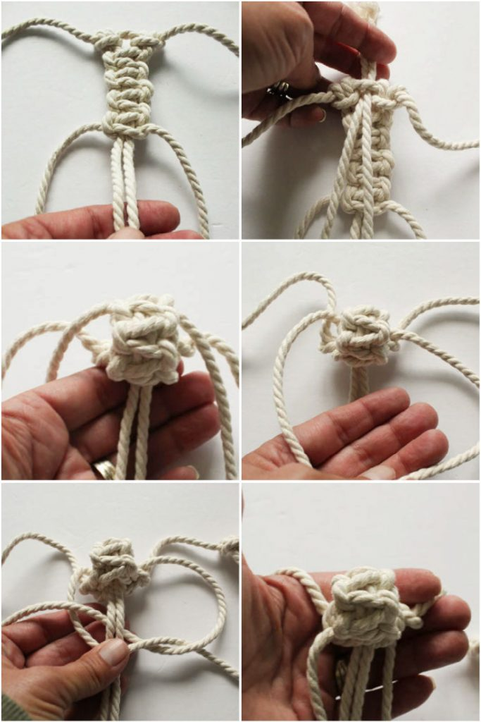 image collage of how to tie a berry knot