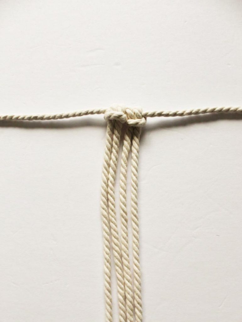 macrame cords tied using a lark's head knot