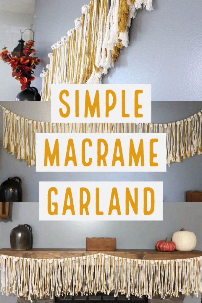 image collage of macrame garland hanging 3 different ways with text Simple Macrame Garland