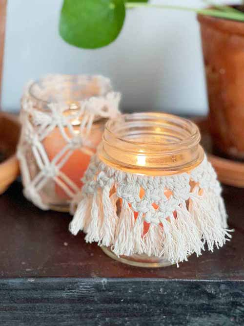 DIY Macrame Glass Jar Covers Made with Square Knots
