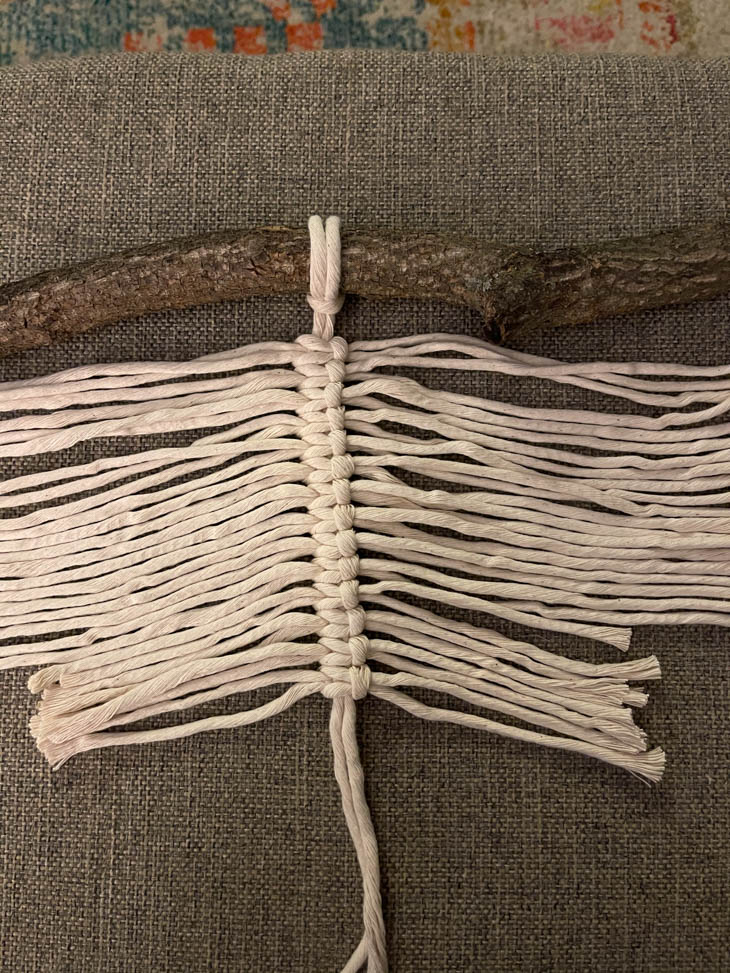 strings attached for macrame feather