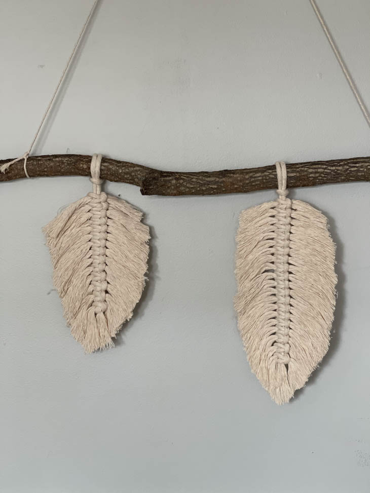 two feathers done on branch
