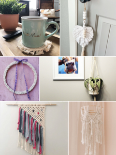 image collage of macrame projects for beginners